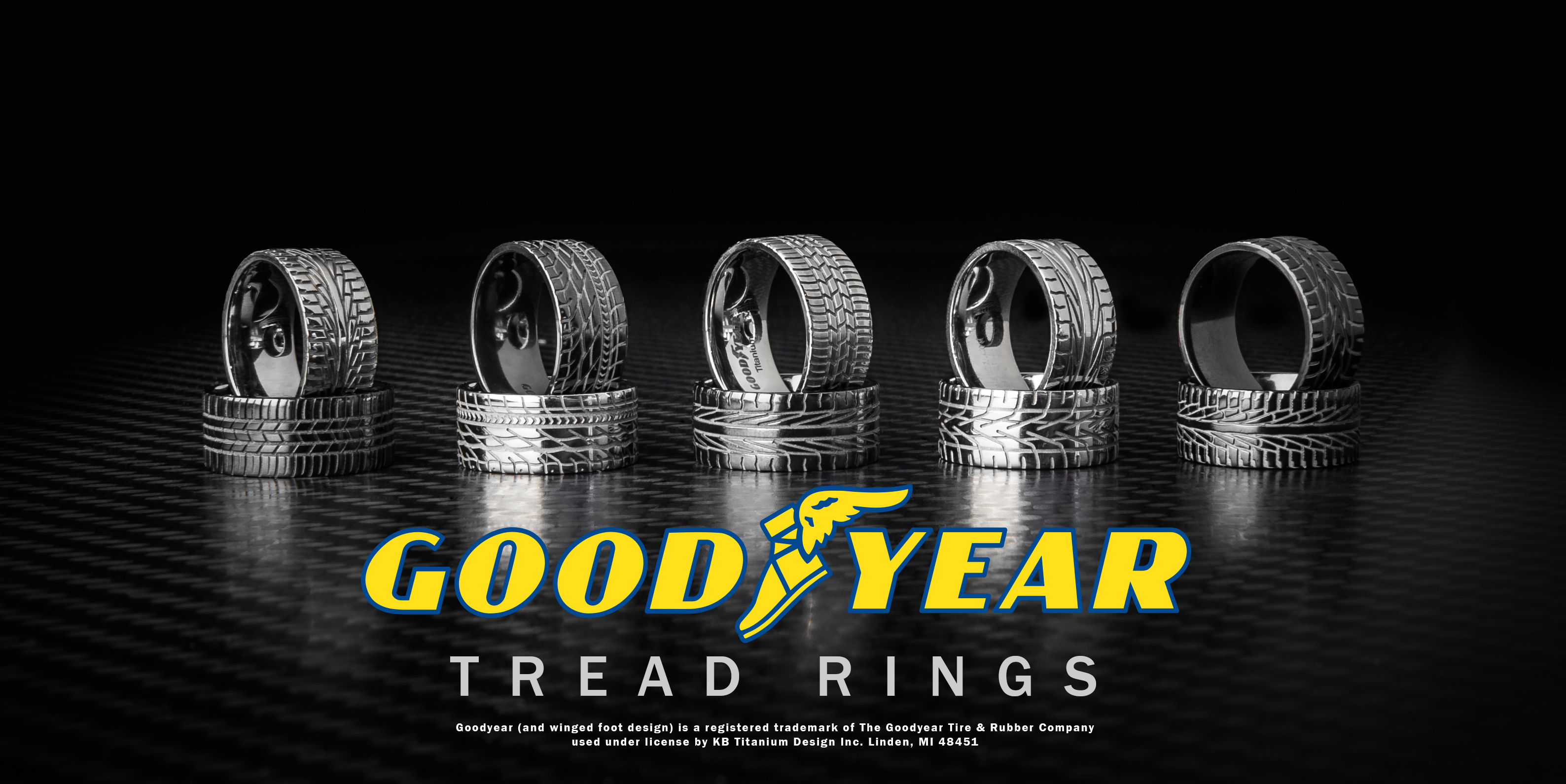 Tire Wedding Rings >> Officially Licensed Goodyear Tire Rings, Tread Rings