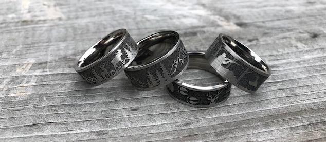 Hunting Scene Rings Hunting Wedding Rings TitaniumBuzz